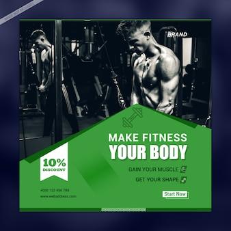 Plantilla de banner de medios sociales fitness your body