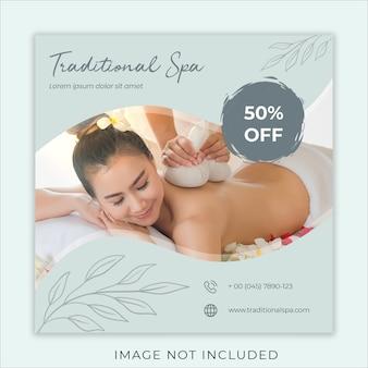 Plantilla de banner de medios sociales de spa tradicional