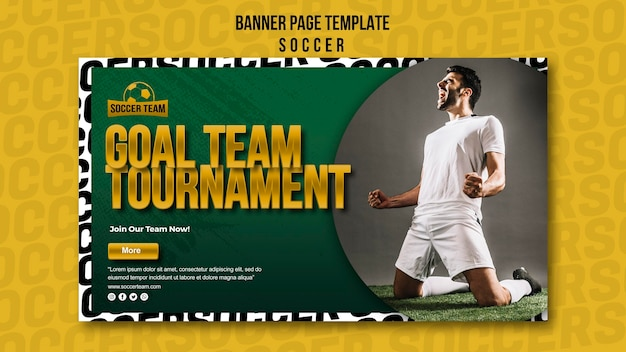 Plantilla de banner de meta equipo torneo torneo de fútbol