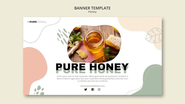 Plantilla de banner para miel pura