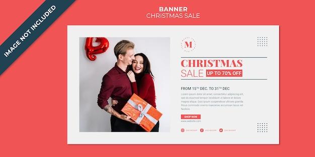 Plantilla de banner minimalista de venta de navidad