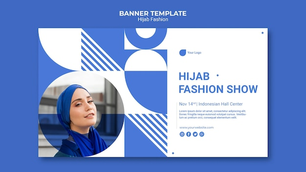 Plantilla de banner de moda hijab con foto