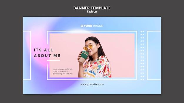 Plantilla de banner de moda mujer bebiendo café