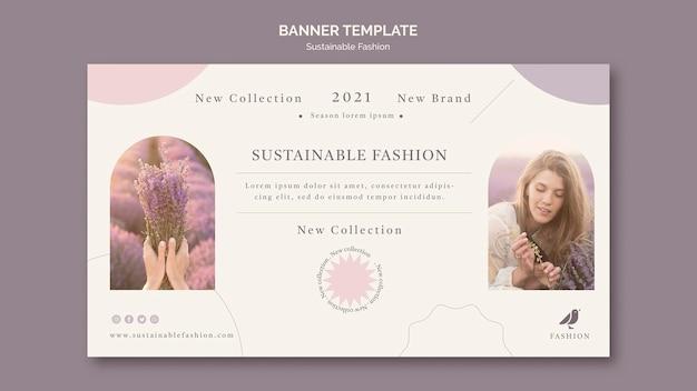 Plantilla de banner de moda sostenible
