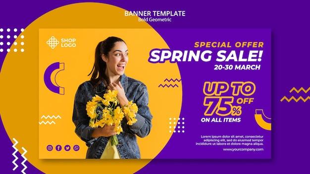 Plantilla de banner de modelo geométrico audaz de venta de primavera