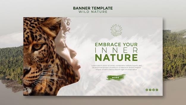 Plantilla de banner de mujer y tigre de naturaleza salvaje