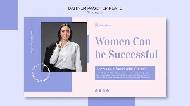 Plantilla de banner para mujeres en los negocios.