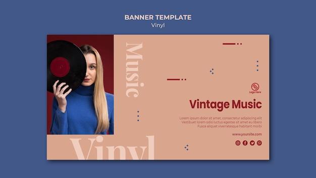 Plantilla de banner de música vintage de vinilo