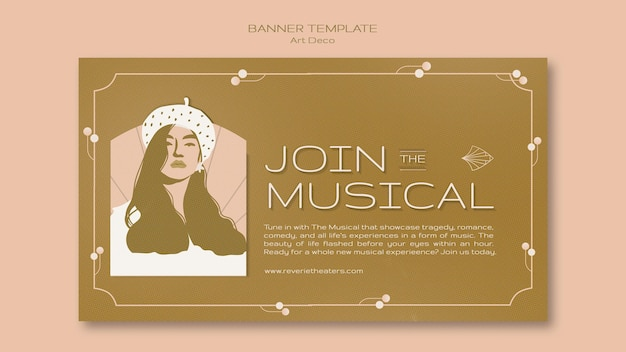 Plantilla de banner musical art deco