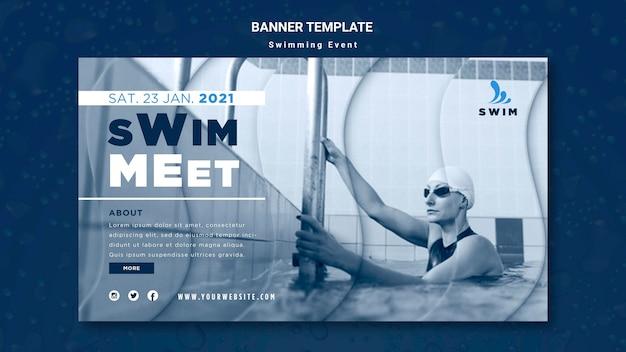 Plantilla de banner de natación con foto