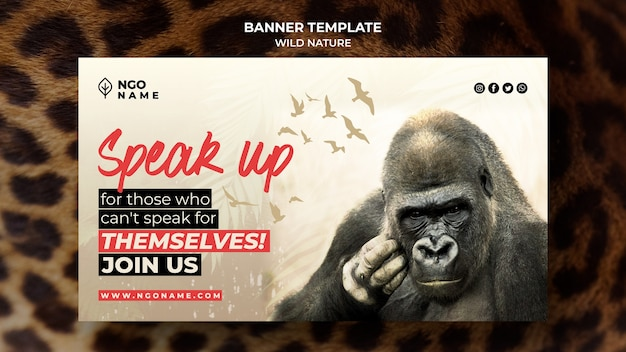 Plantilla de banner de naturaleza salvaje con foto de gorila