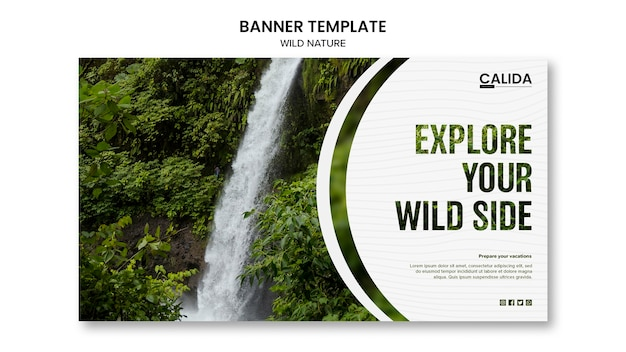 Plantilla de banner de naturaleza salvaje con imagen