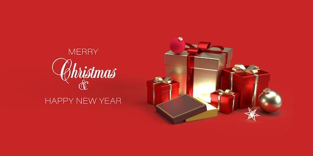 Plantilla de banner de navidad con regalos, juguetes de navidad sobre fondo rojo