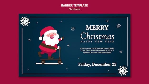 Plantilla de banner para navidad con santa claus