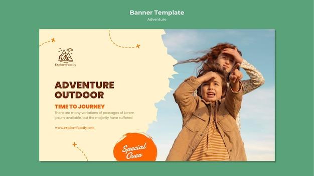 Plantilla de banner de niños de aventura al aire libre