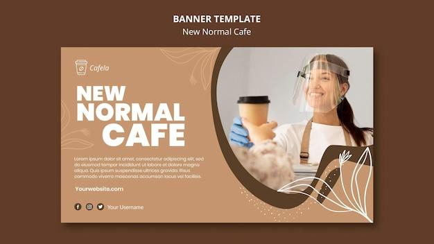 Plantilla de banner para nueva cafetería normal.