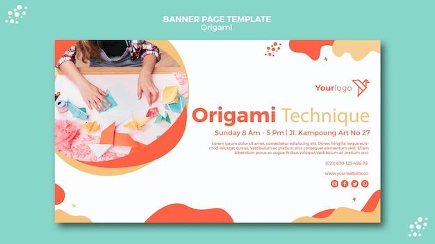 Plantilla de banner de origami