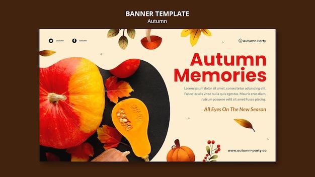 Plantilla de banner de otoño con foto