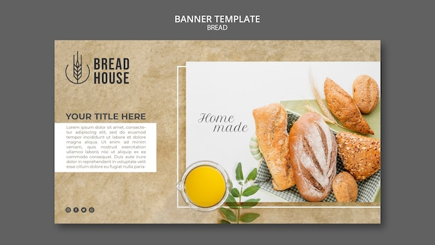 Plantilla de banner de pan recién horneado