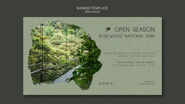 Plantilla de banner del parque nacional de rosewood con bosque y lago