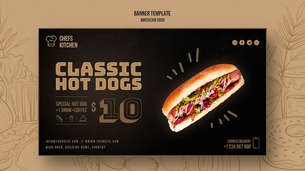 Plantilla de banner de perros calientes clásicos americanos
