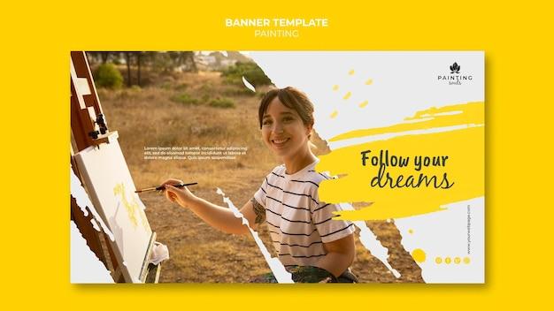 Plantilla de banner de pintura con foto