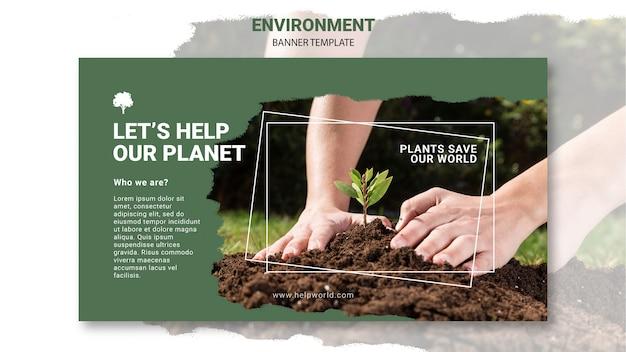 Plantilla de banner de plantas salvando la tierra