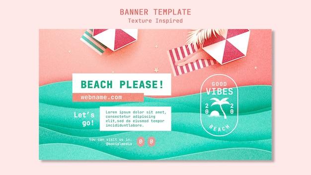Plantilla de banner de playa con textura