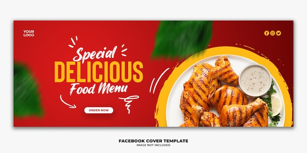 Plantilla de banner de portada de facebook para menú de comida especial pollo