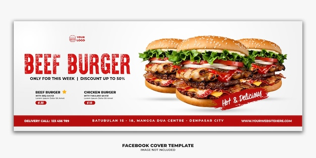 Plantilla de banner de portada de facebook para menú de comida rápida especial con hamburguesa de ternera