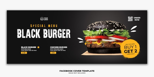 Plantilla banner portada facebook menú especial comida rápida hamburguesa negra