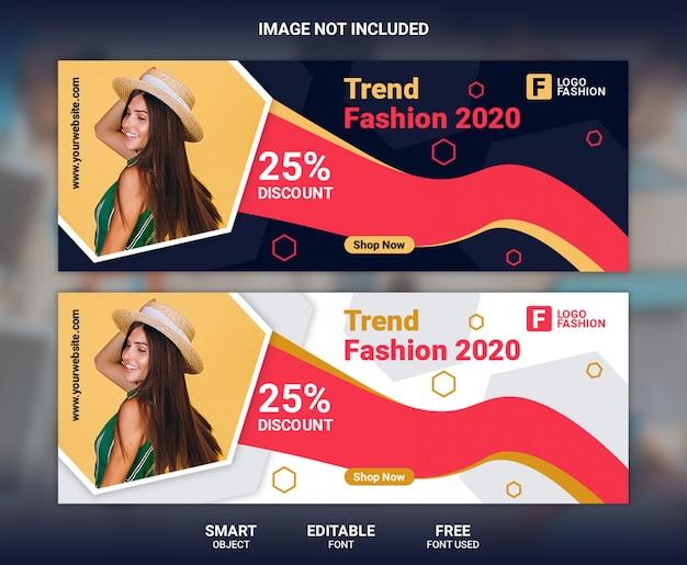 Plantilla de banner de portada de facebook de moda