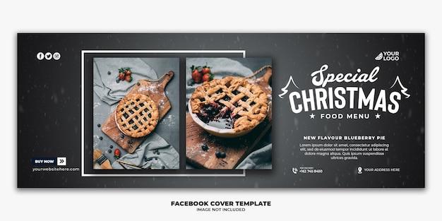 Plantilla de banner de portada de facebook de navidad editable para menú de comida rápida de restaurante
