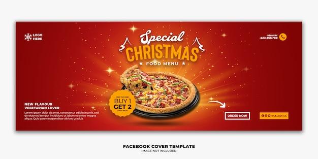 Plantilla de banner de portada de facebook de navidad para menú de comida rápida de restaurante