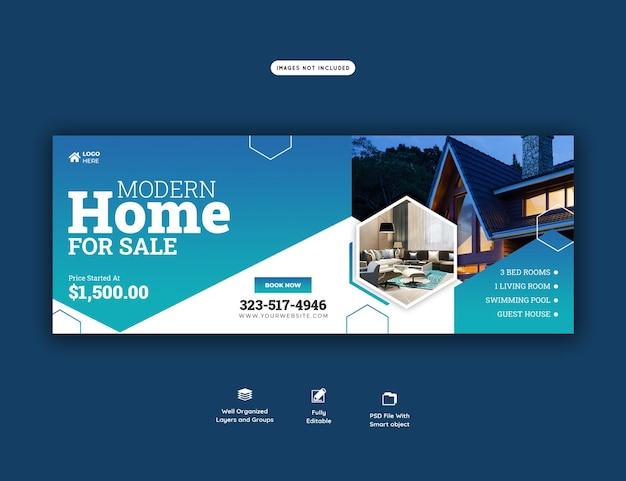 Plantilla de banner de portada de facebook de propiedad de casa de bienes raíces