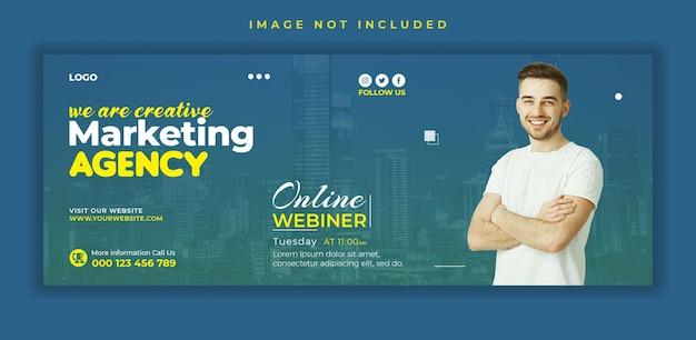 Plantilla de banner de portada de facebook de redes sociales de conferencia de negocios de marketing webinar