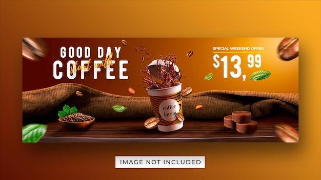 Plantilla de banner de portada de facebook de redes sociales promoción de menú de bebidas de cafetería