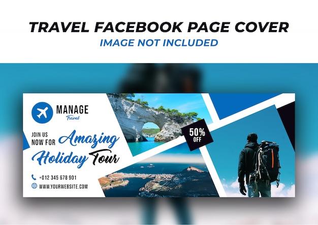 Plantilla de banner de portada de línea de tiempo de facebook de viaje