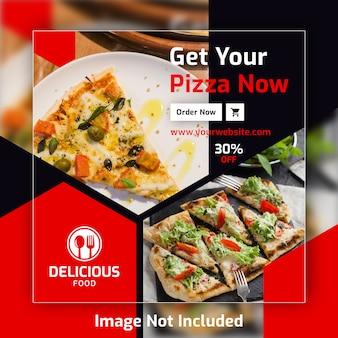 Plantilla de banner de post cuadrado de pizza para restaurante