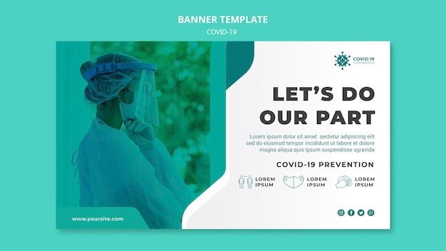 Plantilla de banner de prevención de covid19