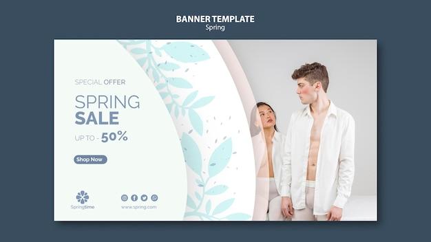 Plantilla de banner de primavera con venta