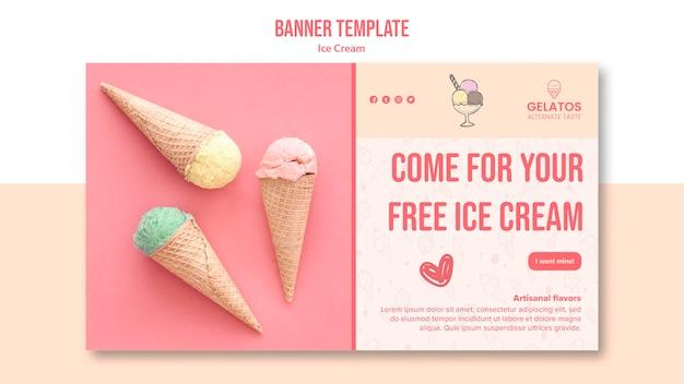 Plantilla de banner de promoción de helados