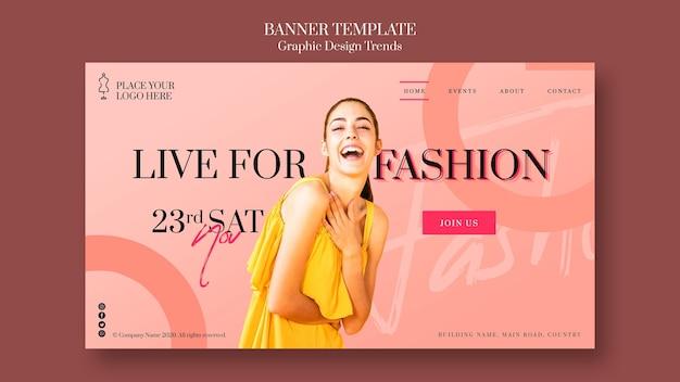 Plantilla de banner promocional de tienda de moda