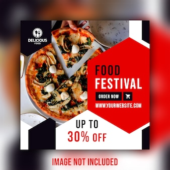 Plantilla de banner de publicación de comida social de restaurante