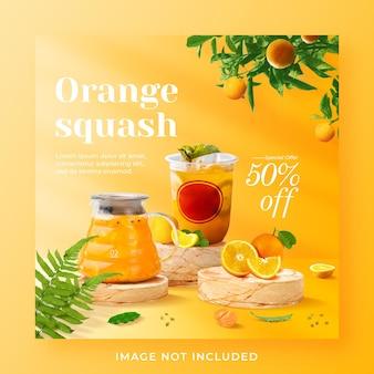 Plantilla de banner de publicación de instagram de redes sociales promoción de menú de bebida de calabaza naranja
