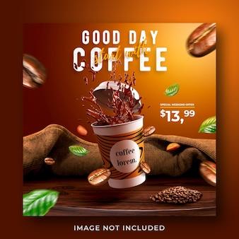 Plantilla de banner de publicación de instagram de redes sociales promoción de menú de bebidas de cafetería