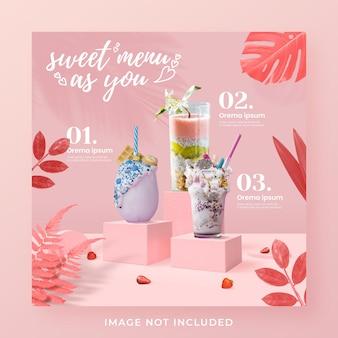 Plantilla de banner de publicación de instagram de redes sociales de promoción de menú de bebidas de san valentín