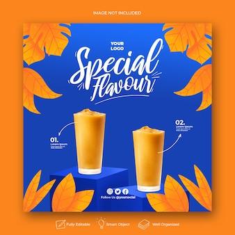 Plantilla de banner de publicación de instagram de redes sociales de promoción de menú de bebidas
