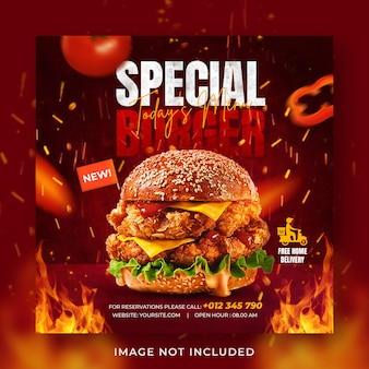 Plantilla de banner de publicación de instagram de redes sociales de promoción de menú de comida de hamburguesa
