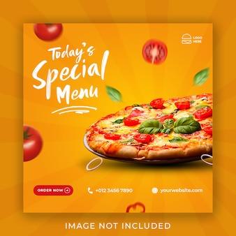 Plantilla de banner de publicación de instagram de redes sociales de promoción de menú de comida de pizza